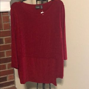 NWT Chico's enamel red cascading blouse